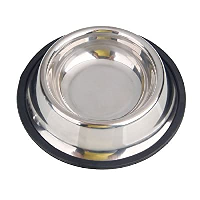 RuiChy Stainless Steel No tip Non Skid Dog Puppy Cat Pet Food Water Bowl Dish 15cm