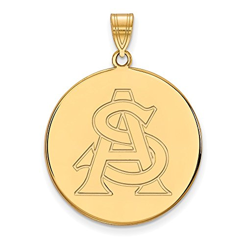 10k Yellow Gold Arizona State Sun Devils School Letters Logo Disc Pendant XL - (26 mm x 25 mm) ()