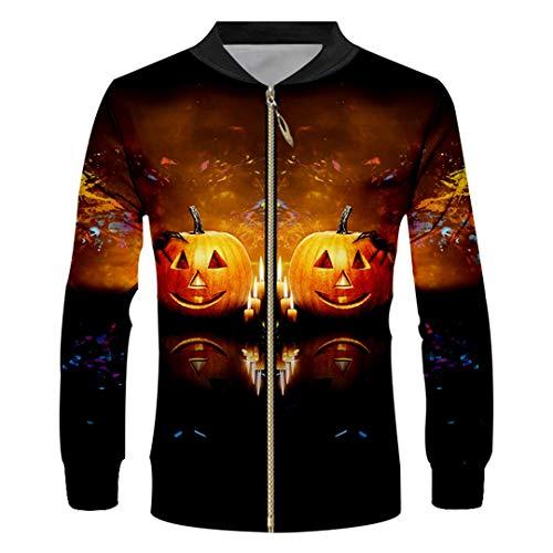 (Halloween Animal Zip Jacket 3D Printed Pumpkin Spider Unisex Zipper)