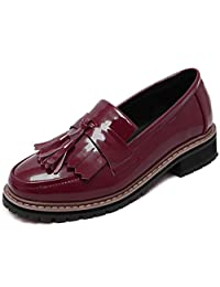 DADAWEN Women's Students' British Style Retro Mid Heel Brogue Tassel Loafer