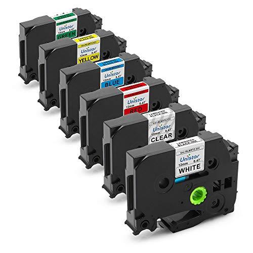 Unistar 6 Pack Standard Laminated Label Tape Compatible with Brother P Touch TZe TZ TZe-131 TZe-231 TZe-431 TZe-531 TZe-631 TZe-731, 0.47 Inch (12mm) x 8m (26.2ft)