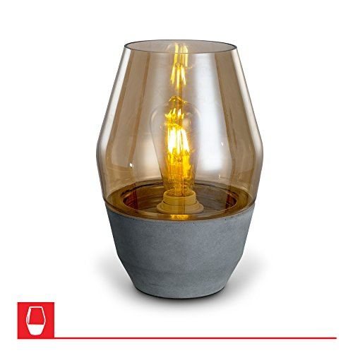 Colma Open-top Amber Glass Modern Table Lamp – Concrete (Amber Glass Table Lamp)