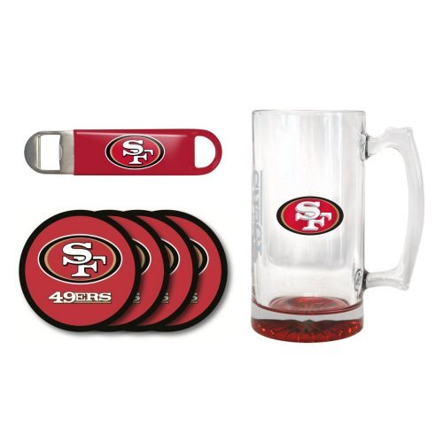 NFL Team Logo Giant Beer Mug, Coasters, and Bottle Opener Gift Set - 25oz. Beer Mug Beverage Set (49ers) (Francisco Coaster San Giants)