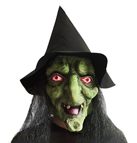 [Feoya Halloween Masquerade Horror Costumes Green Witch Mask with Long Hair Hat] (Adult Witch Mask With Hat And Hair)