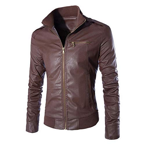 - Oudahood Men's Washed Faux Leathers Motorcycle Dark Brown S