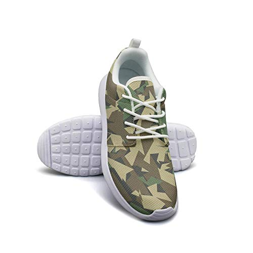 Classic Woodland Fashion Camouflage White Tennis Shoes for Women Customize Skid-Proof Best Running Shoes ()
