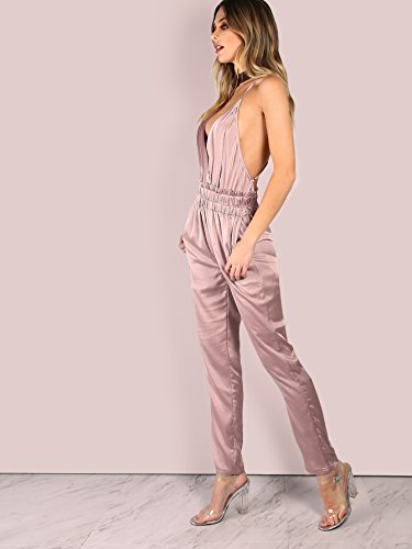6ab3a700c5a Romwe Women s Backless Long Romper Bodysuits Satin Sexy Jumpsuit Pink