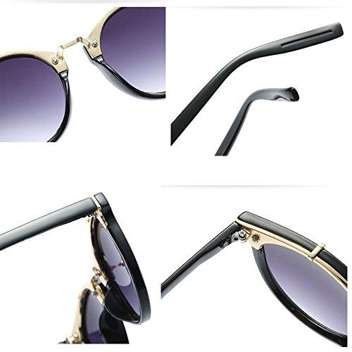 de soleil matériel Lady tendances Fashion lunettes miroir Outdoor soleil PC cadre Gray lunettes de UV parasol GAOLIXIA qC8X4w