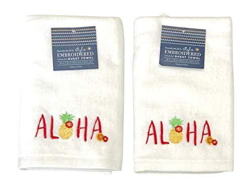 White Guest Hand Towels: Luxury Soft and Absorbent Embroidered 2 Piece, Tropical Pineapple Welcome Design 16 by 25 Inch Each (Aloha Welcome) (Nantucket Bath Towel)