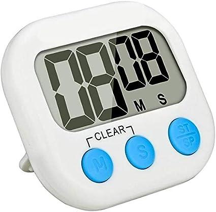 pantalla LCD grande y alarma fuerte blanco Temporizador de cocina digital con temporizador de cocina y cuenta regresiva magn/ética Herfair
