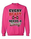 Shop4Ever Every Beast Needs a Beauty Crewnecks Couple Sweatshirts XXX-LargeHeliconia Pink 13173