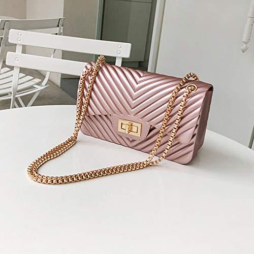 (MaxFox Woman Mini Simple Jelly Shoulder Bags Ladies Pure Color PVC Chain Crossbody Bags)