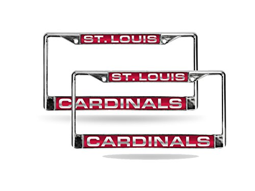 st louis cardinals mlb chrome metal 2 laser cut license plate frame set