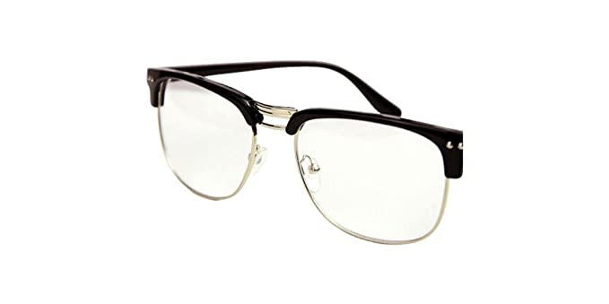 53cbb8e462 Image Unavailable. Image not available for. Colour  Glasses hipster Black  Silver Fashion Hipster Vintage Retro Classic Half frame glasses Clear Lens  Nerd ...