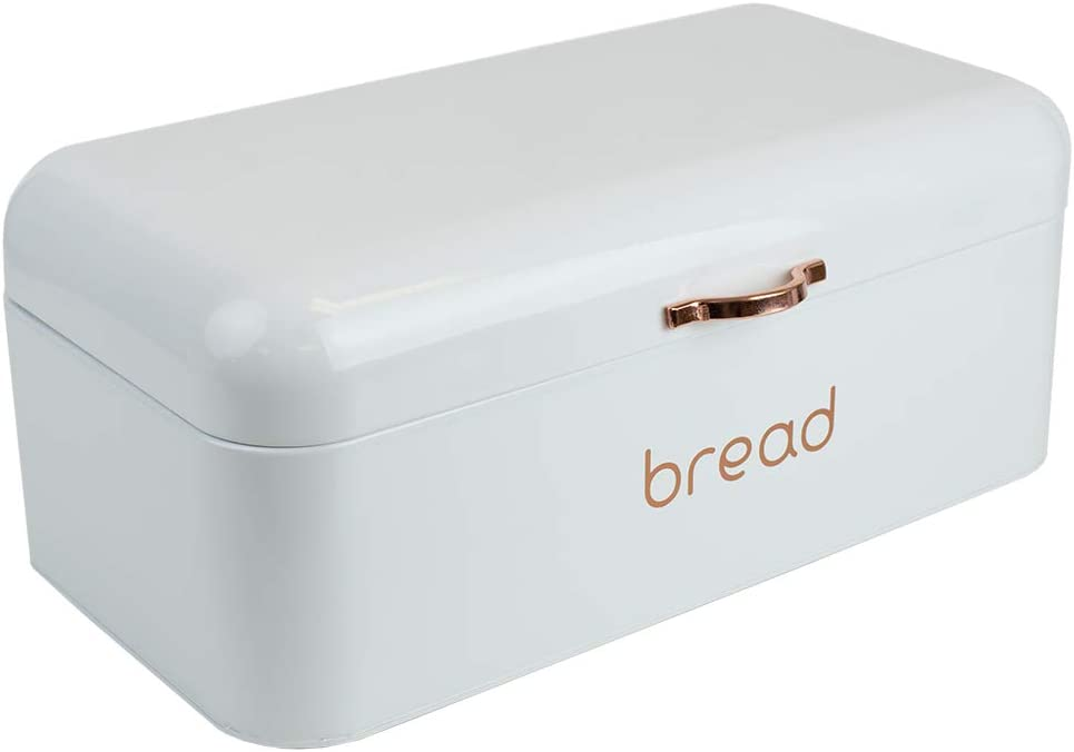 Home Basics Grove Bread Box For Kitchen Counter Dry Food Storage Container, Bread Bin, Store Bread Loaf, Dinner Rolls, Pastries, Baked Goods & More, Retro Vintage Design, White