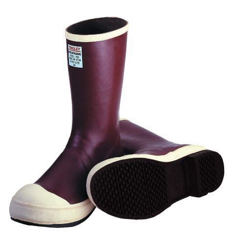 TINGLEY MB924B.12 12-1/2'' Safety-Loc Outsole Neoprene Boot with Fabric Liner, Plain Toe, Size 12, Brick Red/Brown