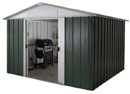 Yardmaster 10x8 ft Deluxe Apex Roofed Metal Shed - Grey