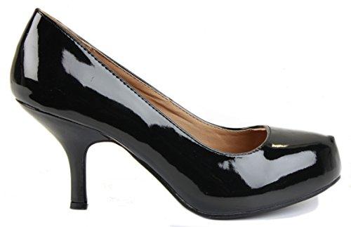 Kitten 3 Schwarz Gericht B Pumps Womens New Mid Work Low Heels Damen Patent Größe Style 8 Brautjungfer Schuhe Braut xT7wIq0Bg