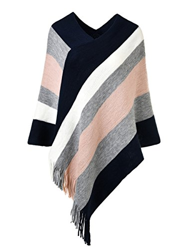 Poncho Top Wrap (Ferand Women's Elegant Knitted Poncho Top With Stripe Patterns and Fringed Sides, Navy Blue & Pink)