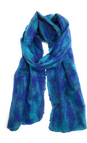 (Handmade Felted Merino Wool Recycled Silk Long Warm Scarf Fair trade (Blue) )
