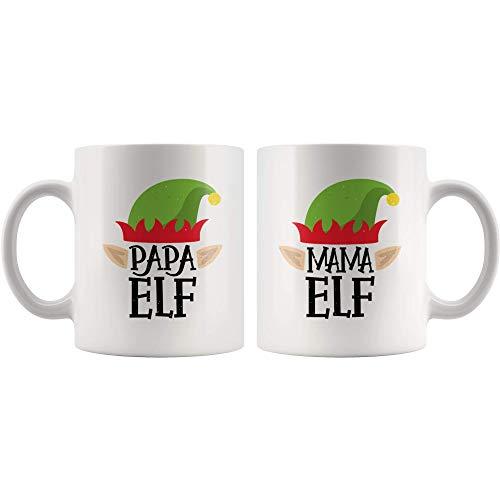 Mama and Papa Elf Mug - Christmas Matching Family Elves, Holiday Mug, Gift For Mama and Papa, Christmas Coffee Mugs - White 11oz Mug