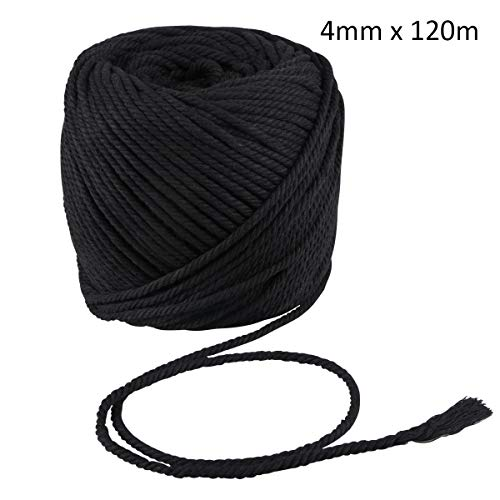 Macrame Cord Black 4mm X 120m String, Kisslife Handmade Decorations Natural Cotton Soft Unstained Rope for Crocheting Bohemia Dream Catcher DIY Craft Knitting Handmade Plant Hanger Wall Hanging