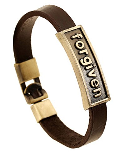 [Mens Womens Vintage Stylish Brown Wrist Band Leather Wrap Rope Bracelet Jewelry,8.26 inches] (Hammered Oval Links Toggle)