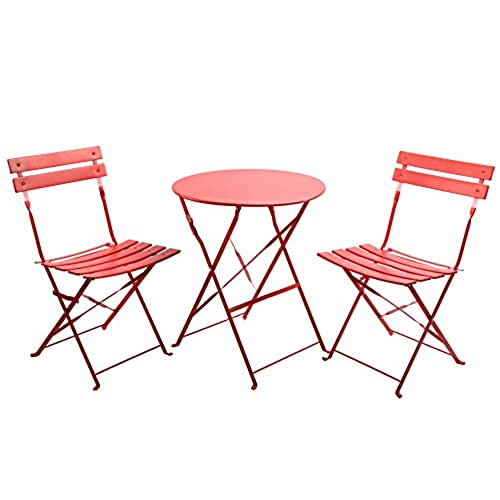 Finnhomy 3 Piece Outdoor Patio Furniture Sets Outdoor Bistro Sets Steel Folding Table and Chair Set w/Safe Lock for Indoors and Outdoors Bistro Table ...  sc 1 st  Amazon.com & Cafe Table Set: Amazon.com
