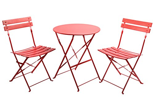 Finnhomy 3 Piece Outdoor Patio Furniture Sets, Outdoor Bistro Sets, Steel Folding Table and Chair Set, w/Safe Lock for Indoors and Outdoors Bistro Table Chair Sets,Backyard/Bistro/Patio/Lawn, Red (Bistro Sets Sale For)