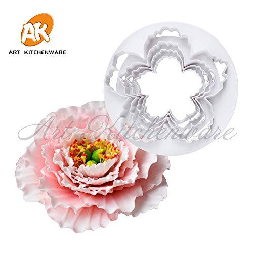 4 pcs Peony Petal Flower Cake Cutters Set Fondant Biscuits Cutter Decorating Mold Gum Paste Tool Rose Cutter Fondant Cake Tools