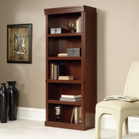 Heritage Hill 5-Shelf Library Bookcase Bookshelf Cherry Furniture Storage Adjustable Shelves Wood Wall Home Tall Office Book, Assembled measurements: 13