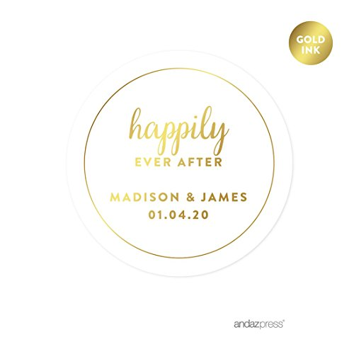 Andaz Press Personalized Round Circle Wedding Favor Gift Labels Stickers, Metallic Gold Ink, Happily Ever After, 40-Pack, Custom Made Any Name (The Best Wedding Favors Ever)