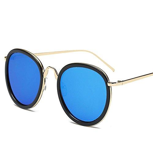 Aoligei Rétro rond cadre Dame lunettes de soleil fashion lunettes de soleil couleur film verres réfléchissants grosse tête E