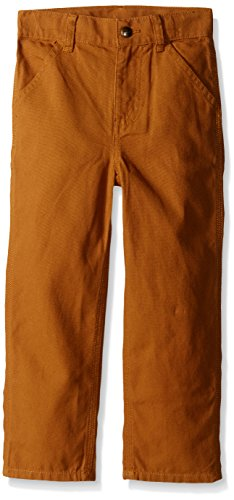 (Carhartt Little Boys' Toddler Washed Duck Dungaree Pant, Carhartt Brown, 2T)