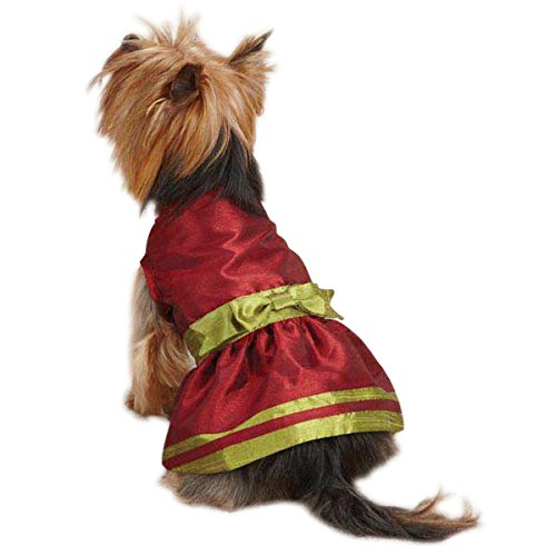 East Side Collection ZM3909 08 83 Holiday Shimmer Dress for Dogs, XX-Small, Red