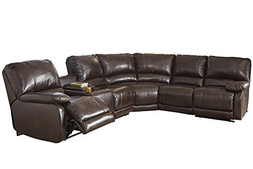 Signature Design by Ashley 3530001 Hallettsville Left Arm Facing Power Reclining Loveseat w/Console, Saddle
