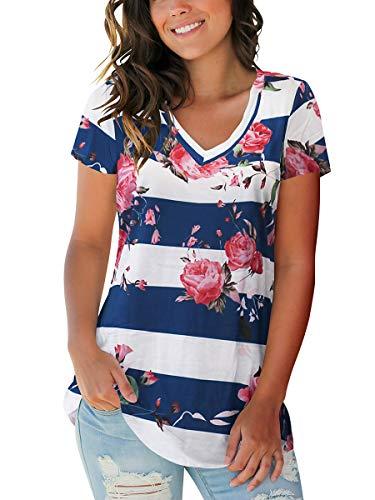 Women Fashion Boho V Neck T-Shirts Trendy Tops Tunic Flower Stripe Blue XL