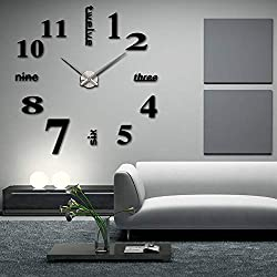 Elikeable New Frameless DIY Wall Clock,3D Surface Mirror Wall Clock Modern Design Large Mute Wall Watches Stickers for Living Room Bedroom Home Decorations (Black)