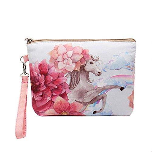 - Canvas Wristlet Makeup Bag for Women Clutch Zipper Cellphone Pouches (Pink Horse)