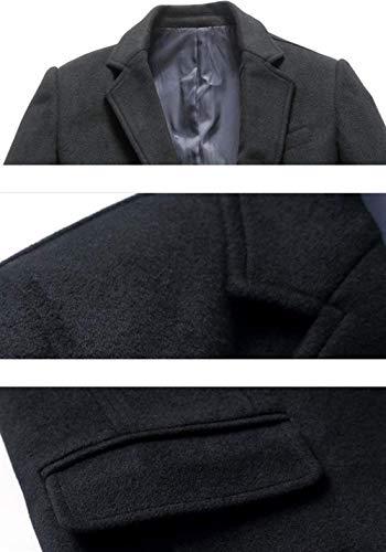 Lana De Frontal Simple Moda De Nener Abrigo De Ocio Largo Fit Los Botón Estilo para Schwarz De Abrigo Largo De Solapa Ntel Hombres Slim Cierre Hombres De De 6qxOY4