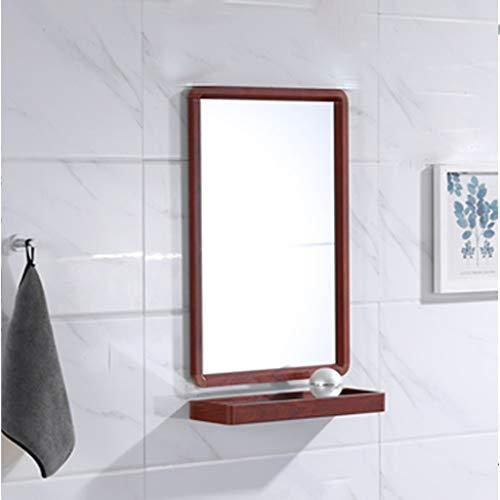YYHSND Bathroom Mirror Wall Hanging Large Flat Frame Mirror Vanity Mirror Wash Basin Mirror with Bathroom Shelf Wall Mirror (Color : Redwood, Size : 63X48CM)