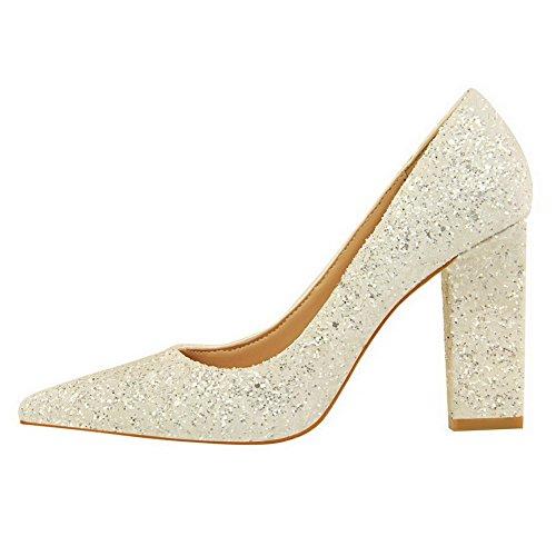 Korkokenkiä Paljetteja Valkoinen Pull Weipoot on Naisten Pumput Kiinteä toe Suljettu kengät 5wxqABv0q