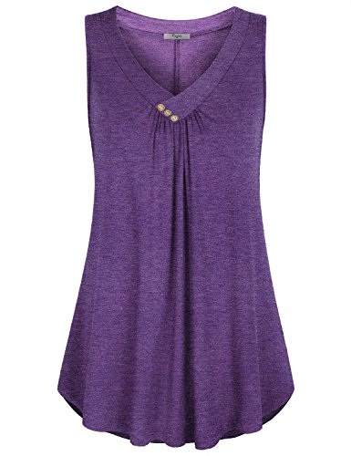 Cestyle Purple Tank Tops for Women, Womens Sleeveless V Neck Shirts Pleated Front Flowy Tank Tops (X-Large, Purple)