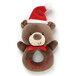 Gund Christmas Plush Rattle - Teddy Bear