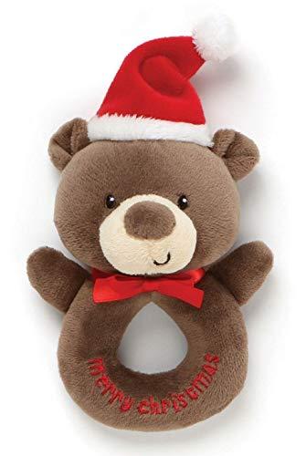 Gund Christmas Plush Rattle - Teddy Bear