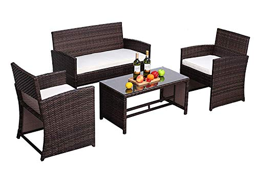Do4U Outdoor Furniture Brown Wicker Conversation Set with Glass Top Table (4-Piece Set) All-Weather | Thick, Durable Cushions with Waterproof Covers | Porch, Backyard, Pool or Garden(9339-MIX-4)