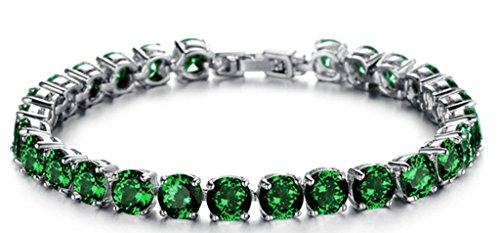 18K White Gold Plated Women Charm Bracelet Inlaid Green CZ Rhinestone Crystal Tennis Bracelet - Adisaer