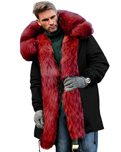 Aofur Mens Winter Warm Thick Faux Fur Slim Trench Coat Long Jacket Parka Hooded Pea Coat Winter Coat S-XXXL (Small, Black Red)