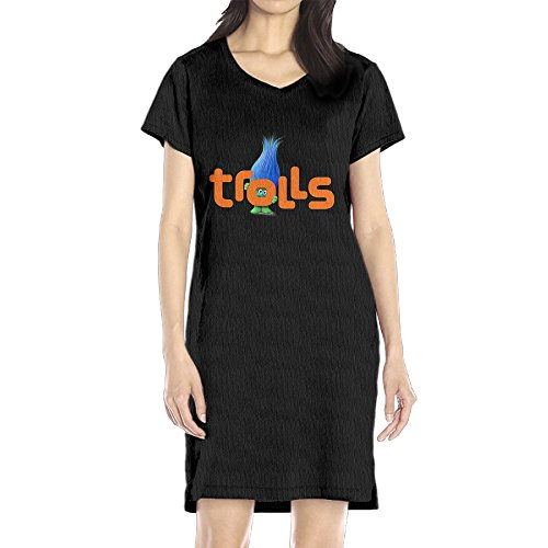 Price comparison product image AIJFW Trolls Movie Women's V-neck Dress Top Black S