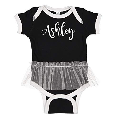 Ashley - Personalized Name Tutu Baby Bodysuit (Black/White 18 Months) (Black Dress Ashley In)